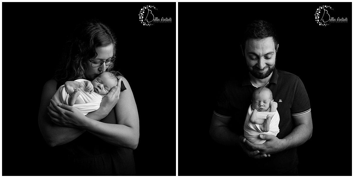 photo famille noir et blanc naissance bebe