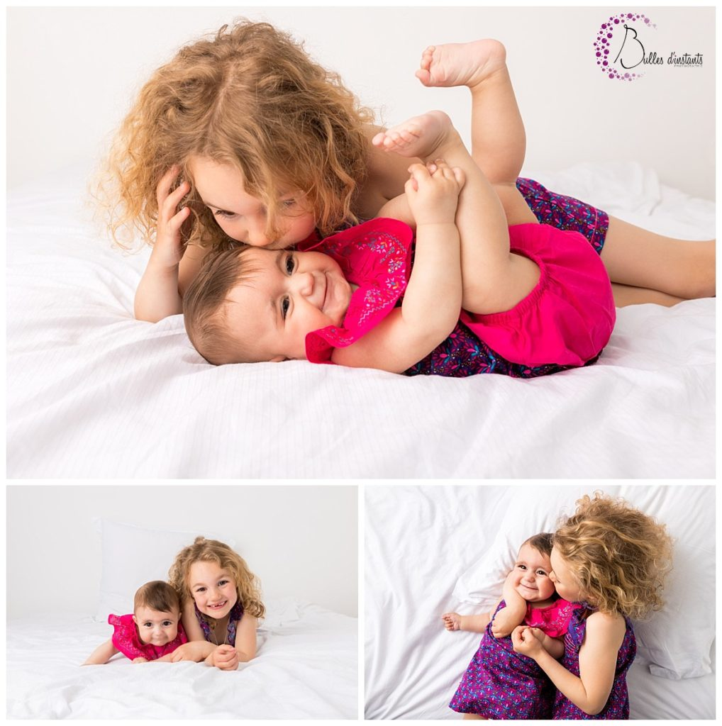 seance photo cocooning en famille entre soeurs lit yvelines