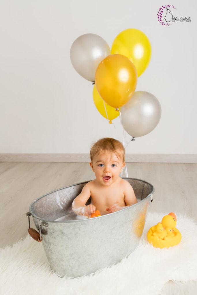 photographe Yvelines anniversaire bébé bain