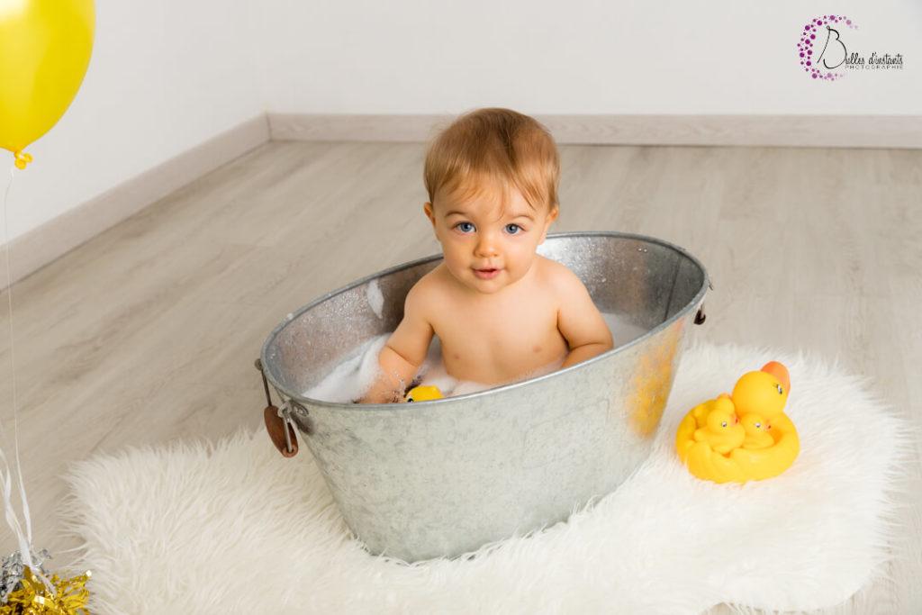 séance photo Yvelines anniversaire de bébé avec bain